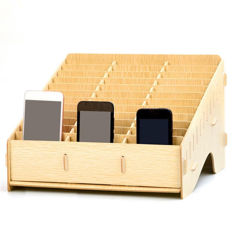 Wooden Mobile Phone Management Storage Box Creative Desktop Office Finishing Grid Multi Cell Phone Rack Shop Display Case