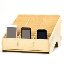 цены Wooden Mobile Phone Management Storage Box Creative Desktop Office Finishing Grid Multi Cell Phone Rack Shop Display Case