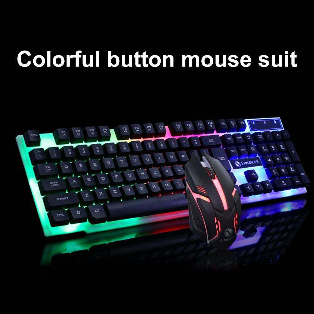 New Arrival Colorful Light Wired Keyboard + 1200dpi Mechanical <font><b>Gaming</b></font> Mouse Set Computer Accessories for PC Laptop
