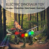 Electric Walking Dinosaur Robot Toy Lay Eggs Projection Colorful Lights Roar Sounds Kids Enlightening RC Toy Boy Christmas Gift