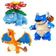 hot LegoINGlys creators Game Cartoon Image Micro Diamond Building Blocks Venusaur Blastoise firedragon model bricks toys gifts