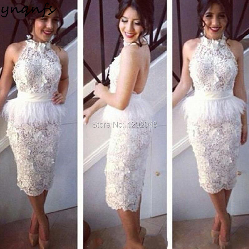 YNQNFS E14 Sexy Backless Halter Sleeveless Tea Length Off White Lace Feather Robe Cocktail Dresses 2019