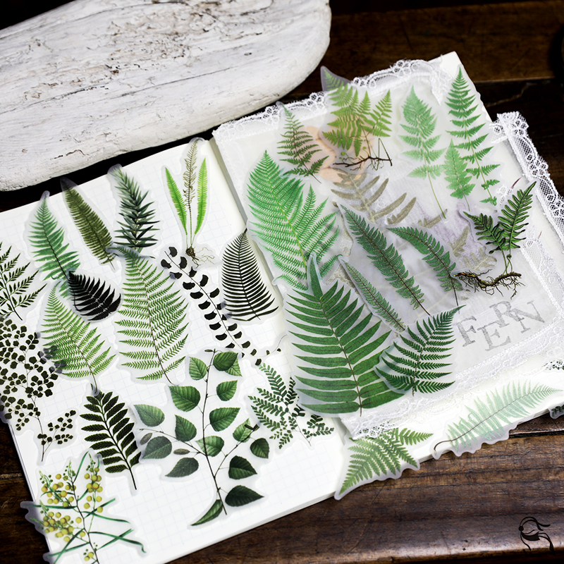 MyPretties Ferns Leaves Stationery Stickers 65PCs Vintage Plants DIY Diary Planner Scrapbooking Stickers