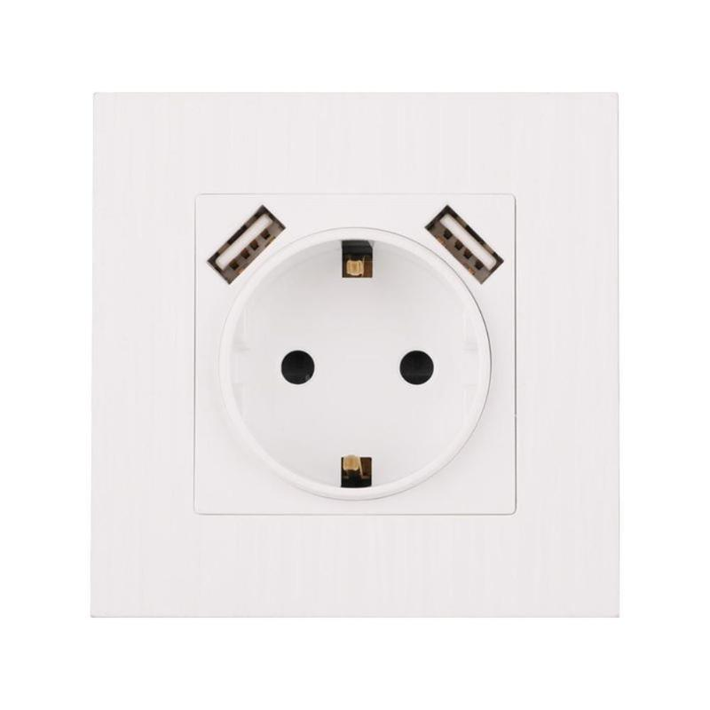 Electrical Wall Socket Double USB Port 220-250V 16A Socket Power Outlet Electrical Wall Socket Double USB Port 220-250V 16A Socket Power Outlet