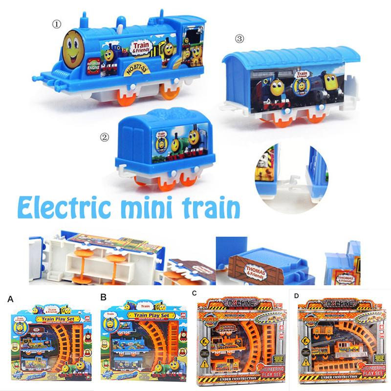 Cartoon Mini Electric Train Track Car Toy Electric Rail