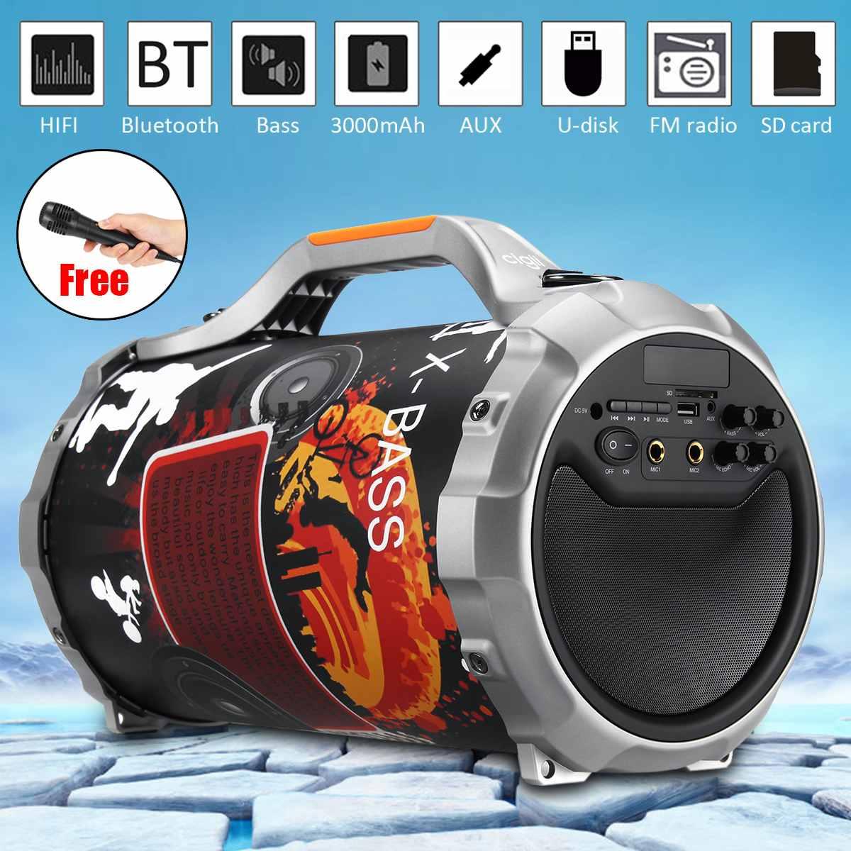 Haut-parleur d'alimentation sans fil bluetooth caisson de basses stéréo extérieur Portable karaoké DJ lecteur de musique fort + Microphone FM USB AUX SD
