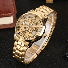 Men's Watches Top Brand Luxury Skeleton Dial Automatic Mechanical Watches Man Clock Male Full Stainless Steel Gold Wristwatches