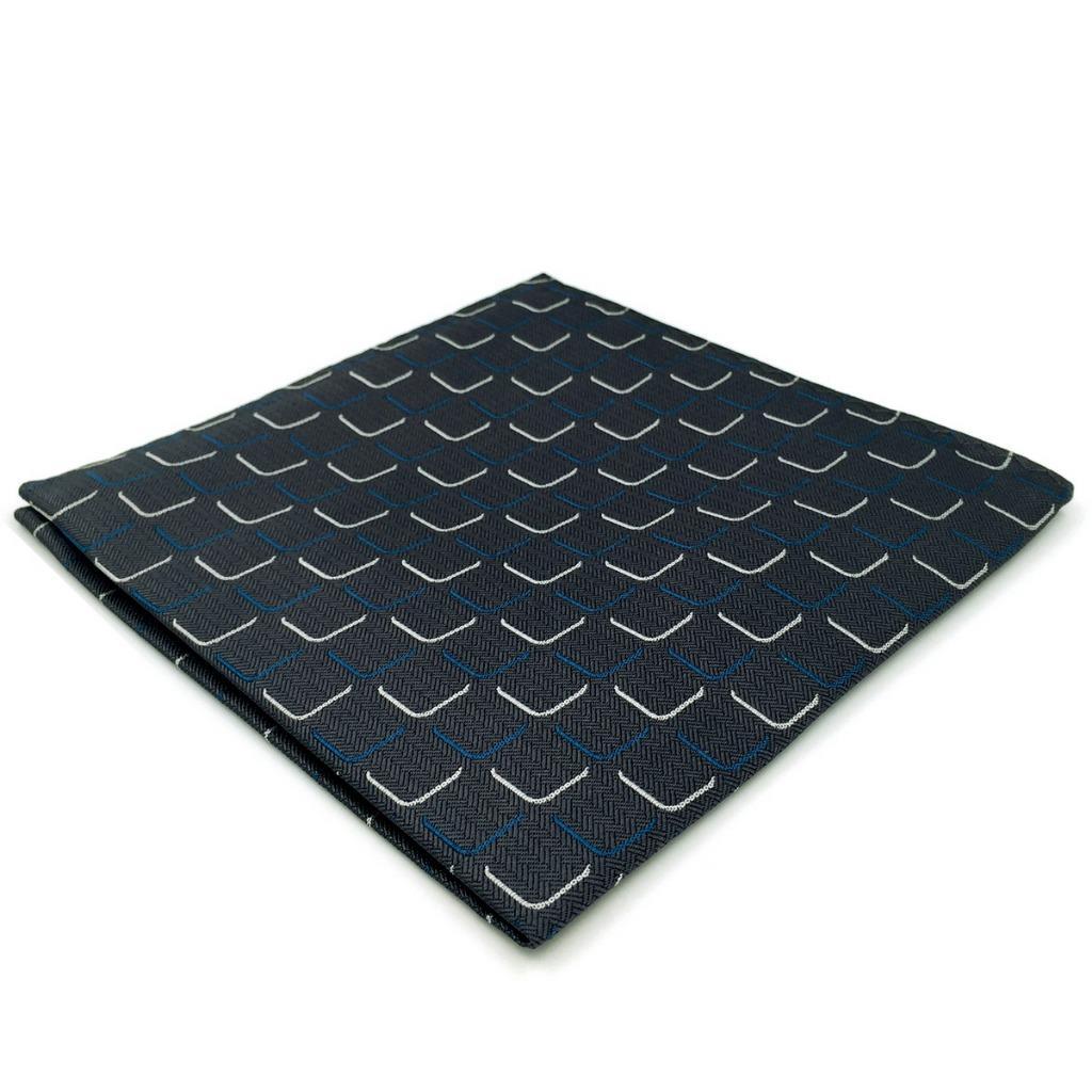 EH17 Geometric Mens Pocket Square Dark Gray Dress Classic Handkerchief Groom Fashion Hanky
