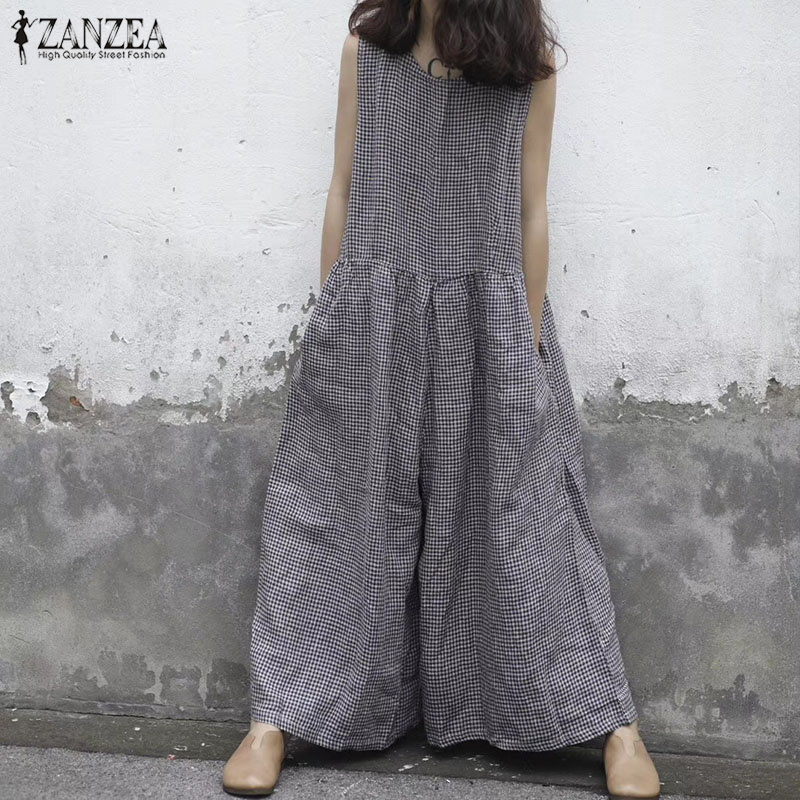 Summer Rompers ZANZEA Women Sleeveless Plaid   Jumpsuits   Casual Vintage Checked Wide Leg Overalls Ladies Cotton Linen   Jumpsuits