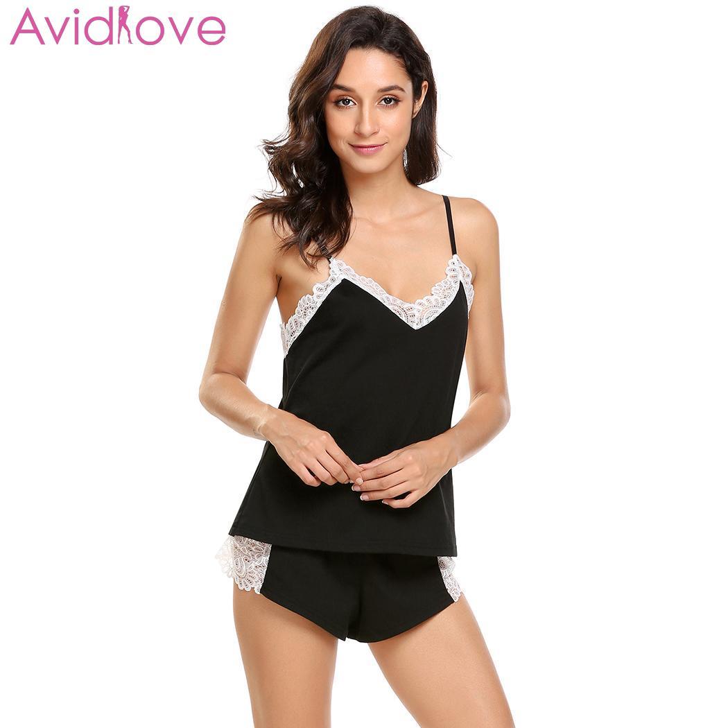 Avidlove Women Sexy   Pajama     Set   Summer V-Neck Lace Sex Lingerie   Set   Cami Top Shorts   Pajamas   Women Sexy Underwear Home Clothes