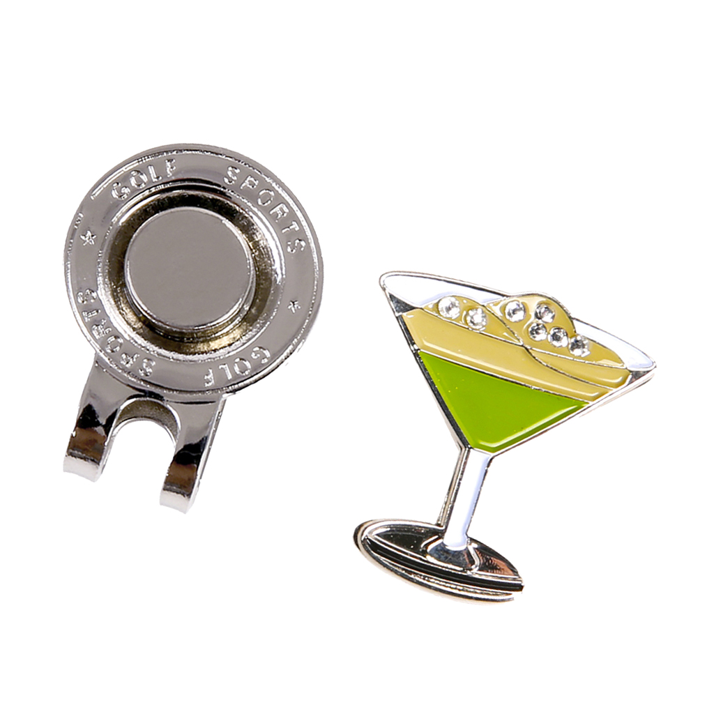 Golf Cap Clip for Golf Hat Golf T-shirt Collar Decoration Clips Magnetic Golf Ball Marker, Beautiful Cocktail Cup Style Design