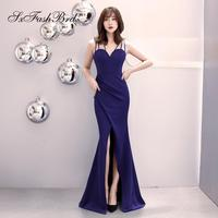 Robe De Soiree Longue 2018 Sweetheart Mermaid Side Split Satin Long Party Women Evening Dresses Simple Prom Dress