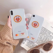 Japanese Funny Anime Anpanman Case Clear Soft Phone Cover For iphone 6 6s 7 8 Plus X XS MAX XR Cases Kawaii Emoji Couple Coque
