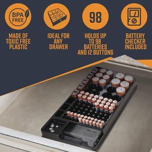 Image 5 - Ffyy電池収納オーガナイザーホルダーテスター電池キャディーラックケースボックスホルダー含むバッテリーチェッカーaaa aa c