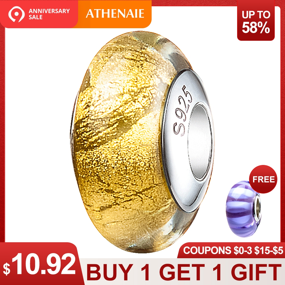 4cb6726aa54 US $15.6 40% OFF|ATHENAIE Genuine Murano Glass 925 Silver Core Gold Foil  Charm Bead Fit Pandora Charms Bracelets Color Yellow Christmas Jewelry-in  ...