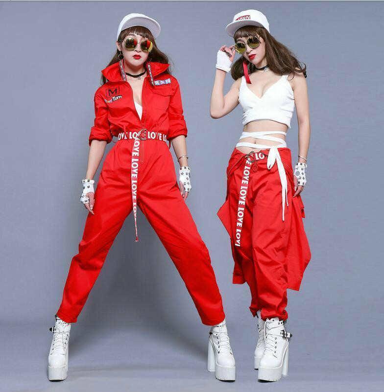 #0110 2018 calças de hip hop macacão feminino vermelho corredores solto streetwear moda harem calças macacão com cinto