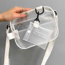 Causual PVC Transparent Clear Woman Crossbody Bags Shoulder Bag Handbag Jelly Small Phone with Card Holder Wide Straps Flap