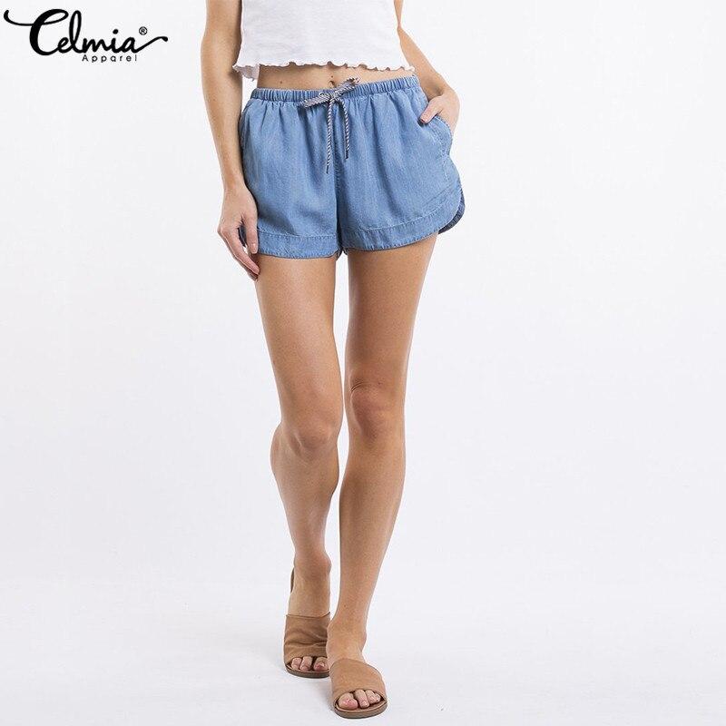 Celmia 2019 Summer Women Denim   Shorts   Casual Loose High Elastic Waist   Shorts   Drawstring Beach Sexy   Shorts   Femininas Plus Size