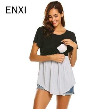 5eb7b11ca ENXI manga corta de maternidad de enfermería embarazo lactancia ropa para  mujeres embarazadas de alimentación Tee camisas ropa