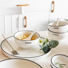 Round Ceramic Tableware Set Dinner Plates White Fruit Plate Bowl Tray For Food Creative Design Dishes And Plates Sets AKUHOME
