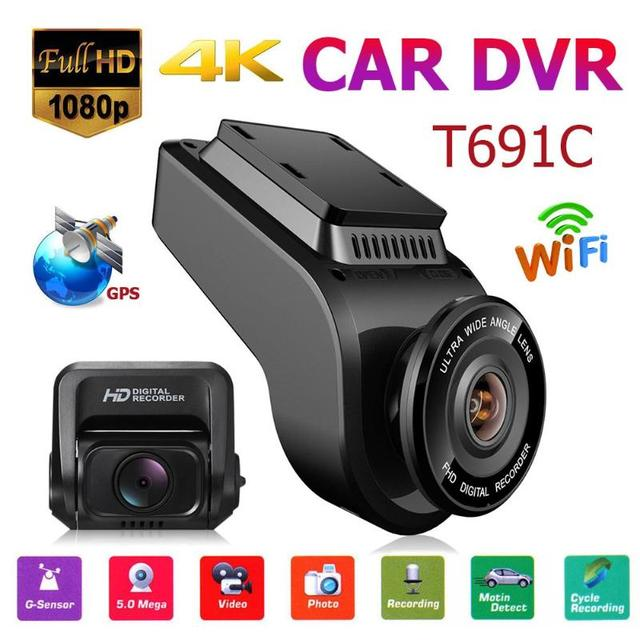"T691C 2 Inch 4K 2160P/1080P FHD Dash Cam 170 Degree Lens Car DVR Camera Recorder Built-in GPS 2""4:3  screen dash cam car dvr"