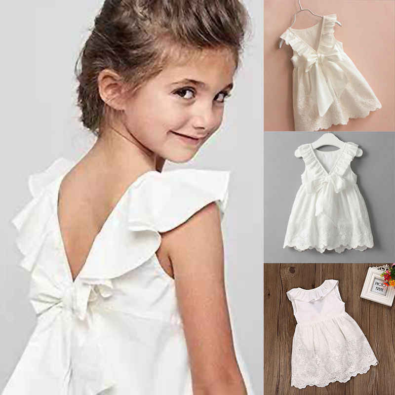 287f16eaf5cb Detail Feedback Questions about Pudcoco 2019 Toddler Kids Baby Girls White  Knee Length Cotton Dress Sleeveless Princess Lace Floral Party Clothes  Sundress 2 ...