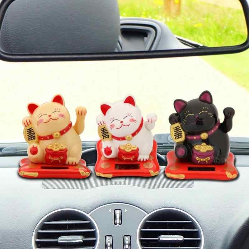 3.5/2.5 بوصة الأزياء جديد الأسود/الأبيض تعمل بالطاقة الشمسية محظوظ قطة الحظ الترحيب قطة الحظ للمنزل سيارة تمثال ديكور الحرفية جديد