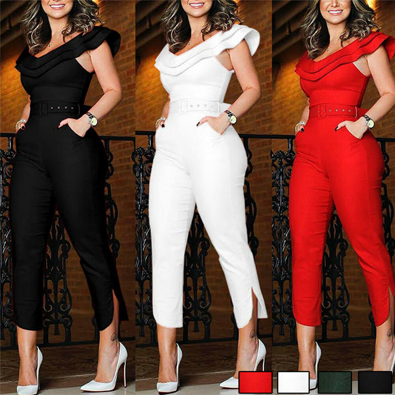 Women's Ruffles Clubwear Playsuit Bodysuit Party Jumpsuit Romper Long Trousers(China)