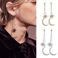 купить 1 Pair Shiny Crystal Dangle Earrings Star Moon Earrings Charming Earrings Women Gold Silver Jewelry Elegant Long Drop Earrings в интернет-магазине