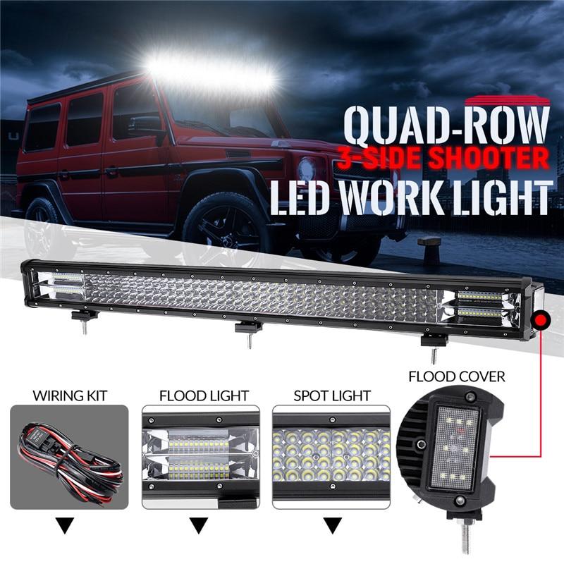432 w Quatre rangées trois côtés 32 pouces Droite LED Lumière Bar 4x4 Offroad Led Bar Combo Faisceau led Light Work Bar DC10-30V Ip68