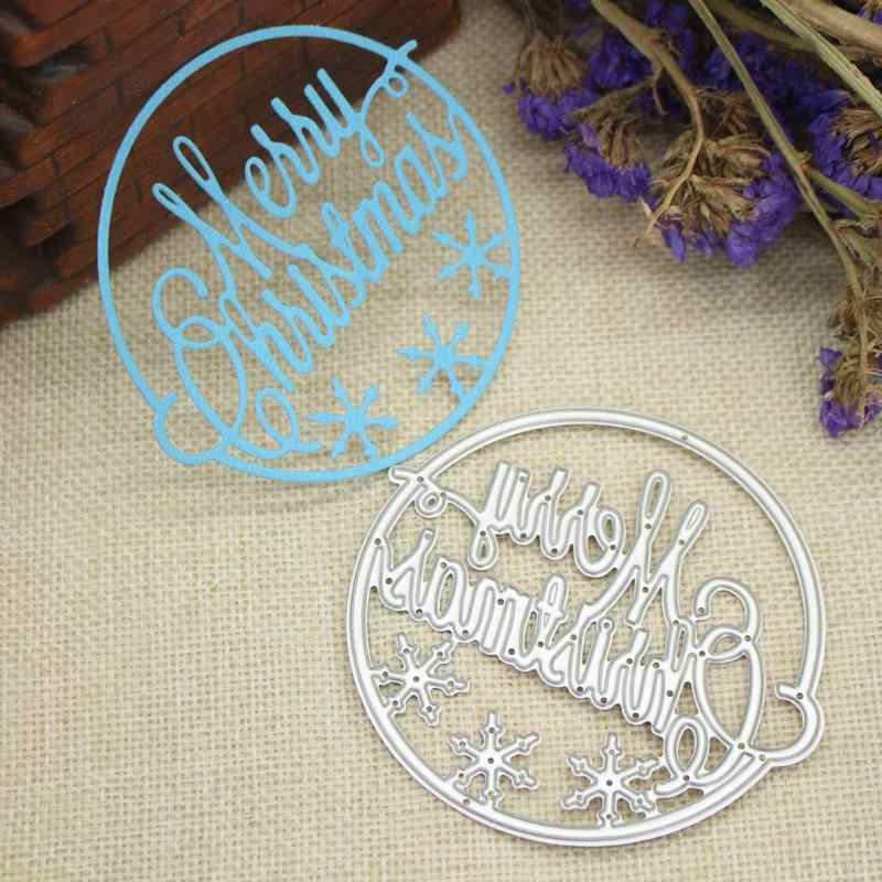 Merry Christmas Cutting Dies Cut Card Album DIY Template Embossing Folder Circle Frame Metal Cutting Dies for Scrapbooking