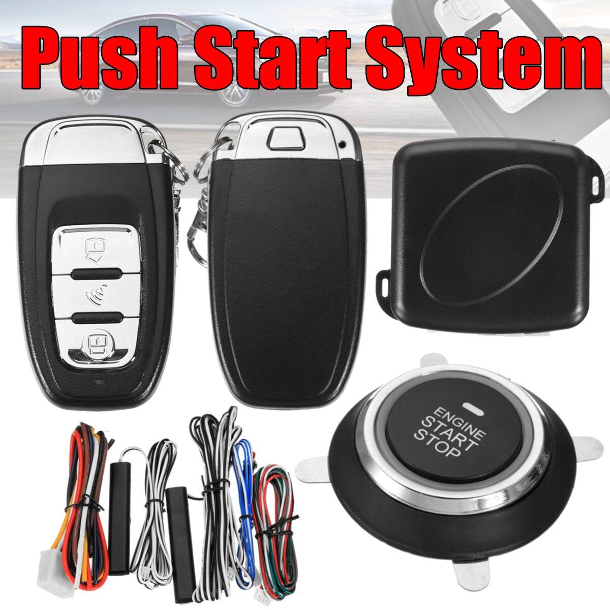 9 pièces Smart Auto voiture alarme moteur démarrage bouton poussoir démarrage arrêt sécurité sans clé entrée système de commutateur d'allumage Push Starter date - 2