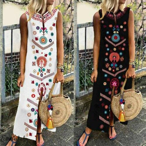 2019 Boho femmes noir Vintage Split blanc Plus été vacances fête longue Maxi robe sans manches robe caftan robe S-5XL