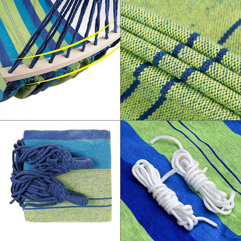 Image 5 - Double Hammock 450 Lbs Portable Travel Camping Hanging Hammock Swing Lazy Chair Canvas Hammocks(Blue)-in Hammocks from Furniture