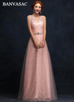 BANVASAC Elegant Sequined V Neck Lace Appliques A Line Long Evening Dresses Party Crystal Sash Backless Prom Gowns
