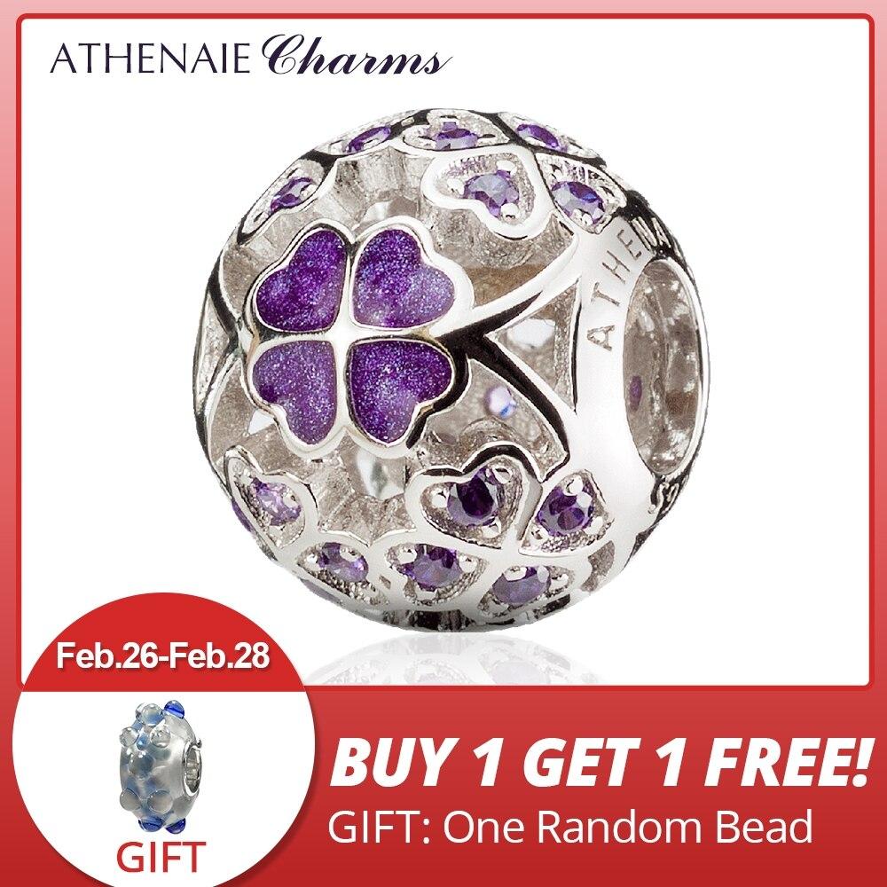 ATHENAIE 925 пробы серебро эмаль счастливый Трилистник наилучшие пожелания вам Шарм бисер Fit европейские браслеты цвет кольца фиолетовый купить на AliExpress