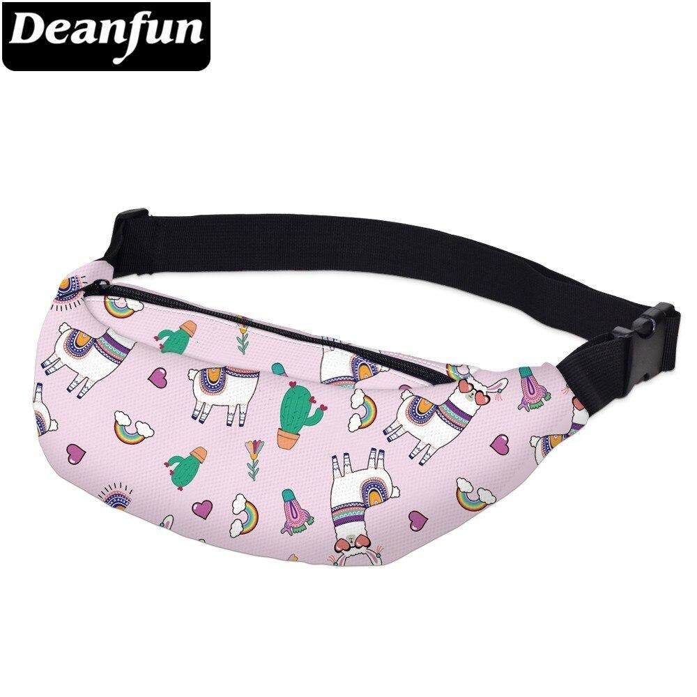 Deanfun Printing Women Fanny Packs Rainbow Llama Waterproof Waist Pack Man Heart Alpaca Bum Bag Belt Pouch  YB-69