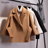 Fitaylor Women Loose Short Woolen Coat Spring Winter Female Cloak With Belt Woolen Jackets Elegant Black Camel Trench Outwear
