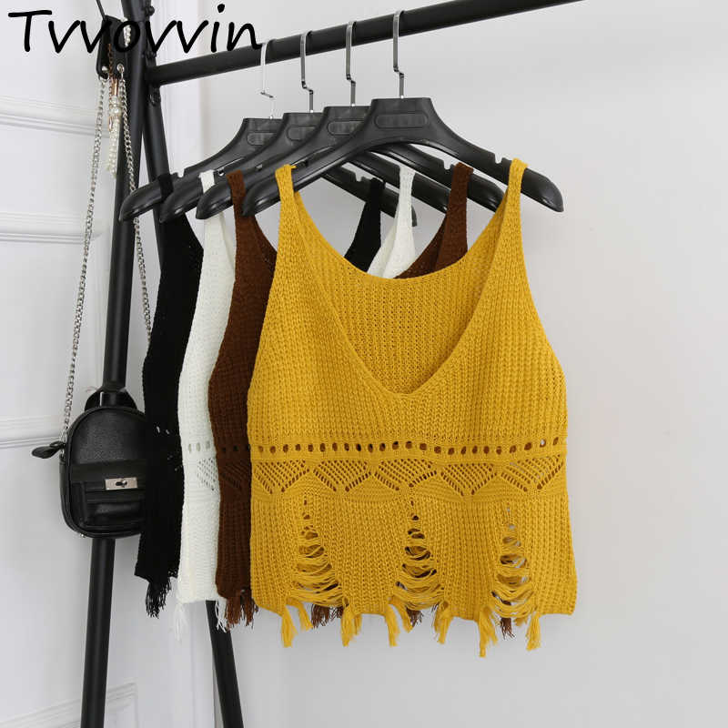 [OL] 2017 Summer New Sexy V Neck Hole Tassel Tops Fashion Knitting Vest Solid Color Short Bottom Vests Women's Tank A362