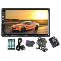 HEVXM GPS Navigation 2 Din Car Bluetooth Radio Multimedia Mp5 Player 7 inch Touch Screen with Camera+Europe Map+Steering wheel