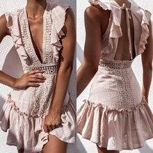 2019 Summer Sexy Lace Crochet Backless Dress Boho Deep V Neck Hollow Out Ruffle Beach Dress Fashion High Waist Mini Dresses sexy hollow out crochet lace mini dress