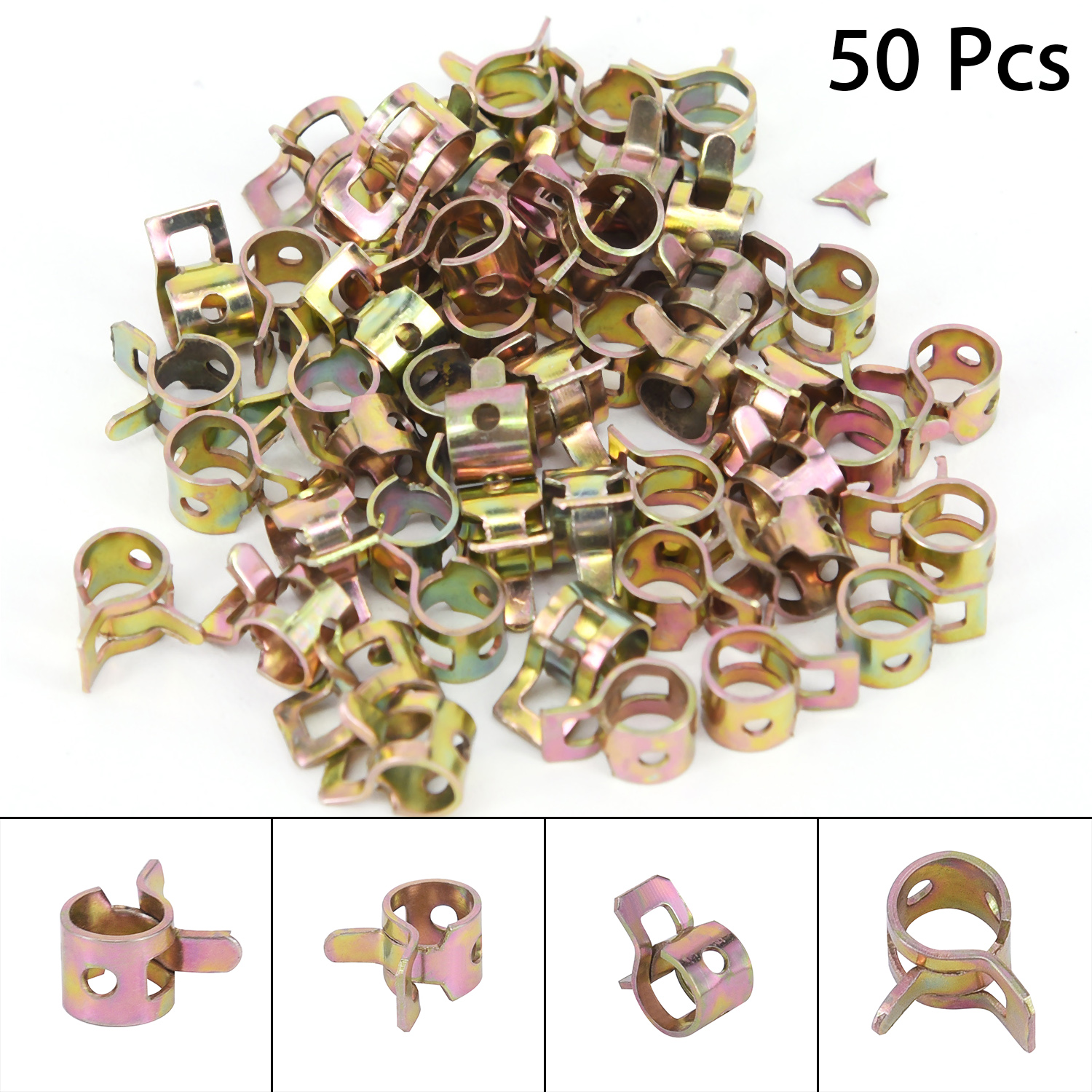 50x 1 4 6mm Spring Steel clip Fuel Oil Line Rubber Vacuum Hose Clamp Lot Parts in Auto Fastener Clip from Automobiles Motorcycles