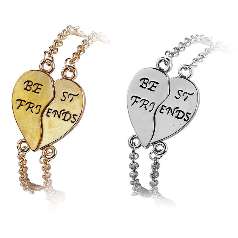 2Pcs/set Fashion Heart Stitching Partner in Crime Friendship Bracelet for Girls Couple Best Friend Charm Statement Jewelry Gifts