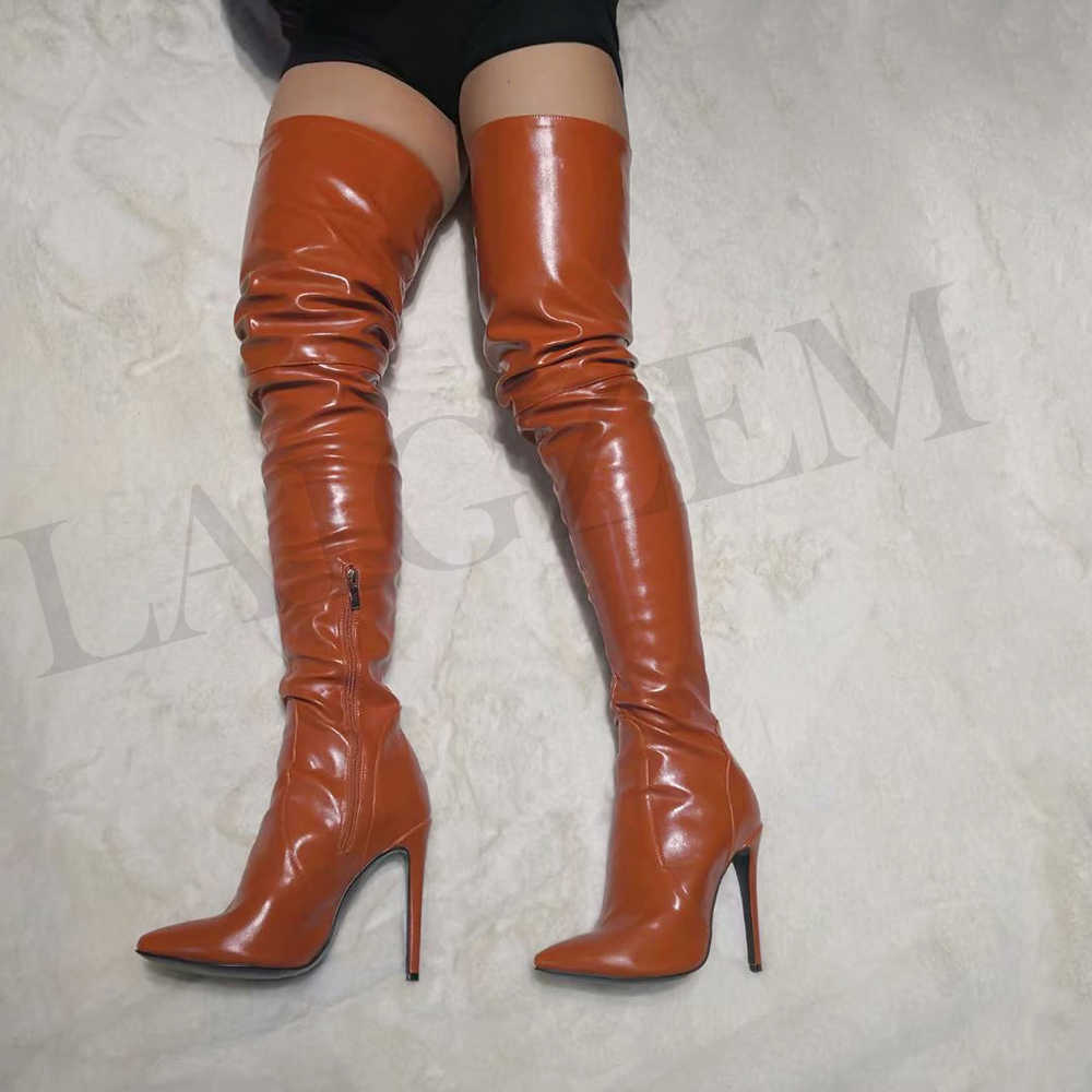LAIGZEM seksi kadınlar diz üzerinde çizmeler Stiletto yüksek topuklu sivri burun çizmeler fermuar ayakkabı kadın Botines Mujer büyük boy 4-14