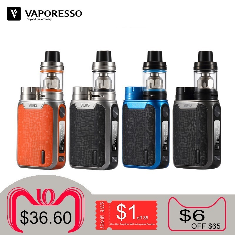 Original Vaporesso Swag Kit Electronci Cigarette Vape E-cigarettes 80W TC Mod with NRG SE Tank Use GT Coil Without 18650 Battery цена