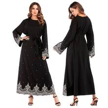 Abaya Muslim Women Embroidery Long Dress With Pearls Plus Size For Lady Arab Maxi Robe Party Cocktail Dubai Turkey Gown Kaftan(China)