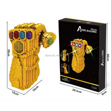 Hot Marvel Super hero Vingadores Thanos LegoINGlys Infinity Gauntlet gem micro diamante building blocks modelo MOC bricks brinquedos presente(China)