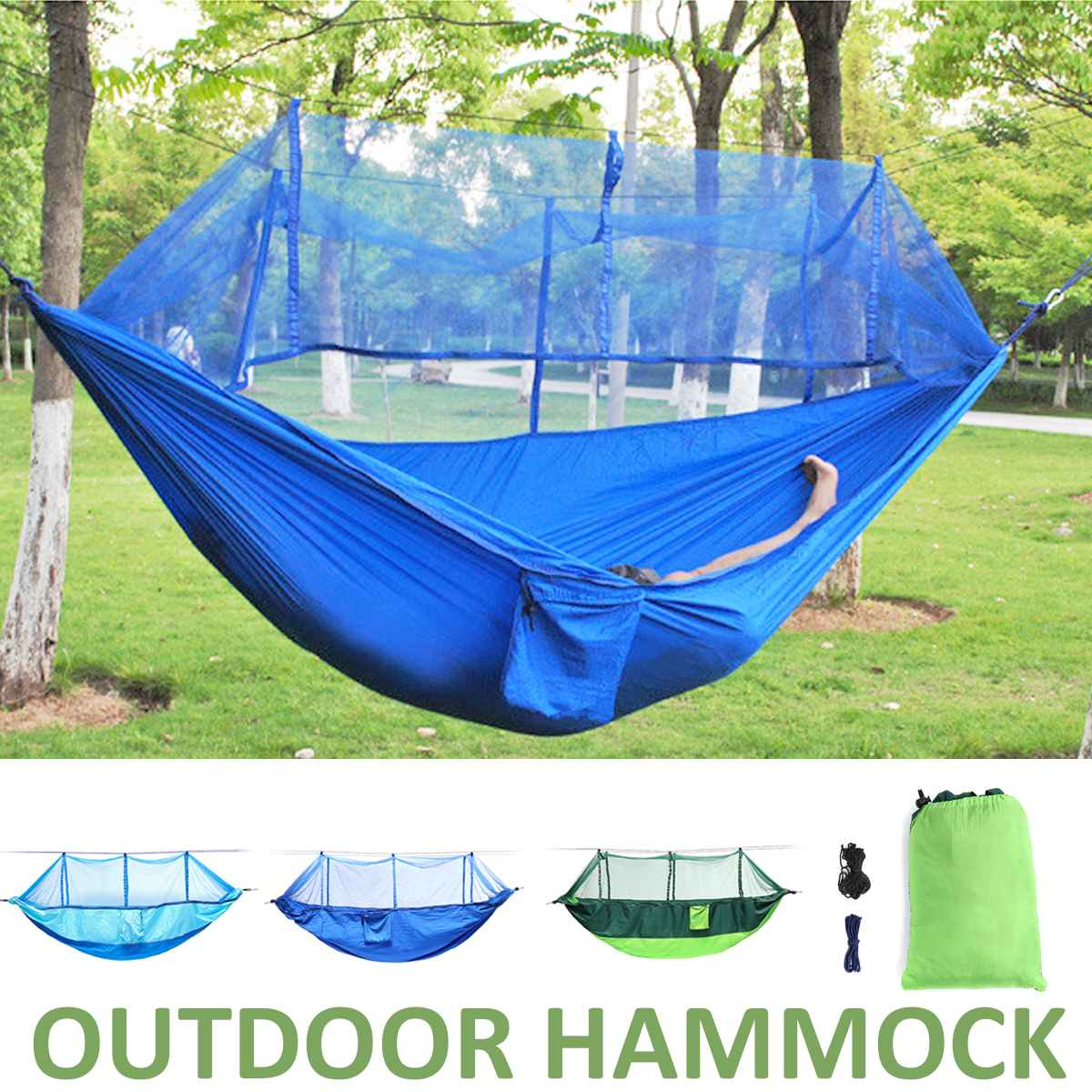 Portable 2 People Double Hammock With Mosquito Net Outdoor Travel Camping Tent Home Garden Parachute Hanging Swing Bed for KidsPortable 2 People Double Hammock With Mosquito Net Outdoor Travel Camping Tent Home Garden Parachute Hanging Swing Bed for Kids