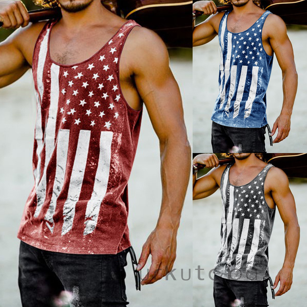 Summer Men Sleeveless Workout   Tank     Tops   Casual American Flag Printed GYM   Tops   Holiday Beach Surfing   Tank     Tops