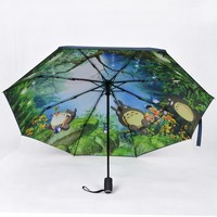 Totoro Sunscreen Sunshade Black Glue Fully Automatic Fold Guard Against Ultraviolet Rays All weather Umbrella Men And Women